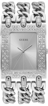 GUESS Silver-Tone Stainless Steel Crystal Chain Watch, 39mm