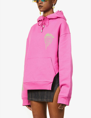 Fenty by Rihanna Graphic-print cut-out cotton-jersey hoody