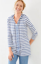 J. Jill Embroidered & Striped Hooded Tunic