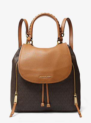 MICHAEL Michael Kors MK Viv Large Logo and Leather Backpack - Vanilla/acorn - Michael Kors