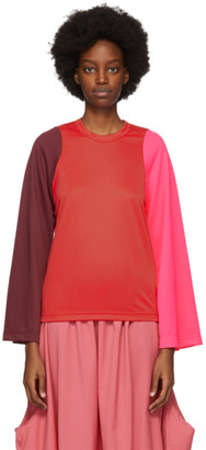 Comme des Garcons Red Colorblock Long Sleeve T-Shirt