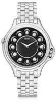 Fendi Crazy Carats Diamond, Multicolor Topaz & Stainless Steel Small Bracelet Watch/Black
