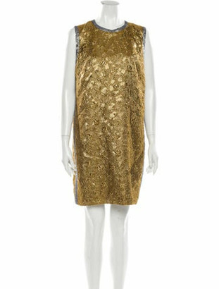 No.21 Crew Neck Mini Dress Gold