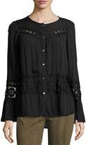 Max Studio Long-Sleeve Lace-Panel Top, Black