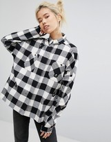 Lazy Oaf Mono Boxy Checked Shirt With All Over Bears