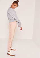 Missguided Petite Nude Lace Up Side Joggers
