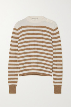 Loro Piana Button-detailed Striped Cashmere Sweater - Ivory