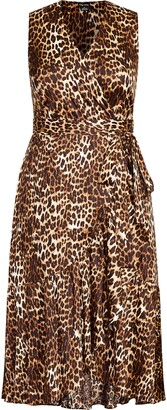 City Chic Animal Print Midi Wrap Dress