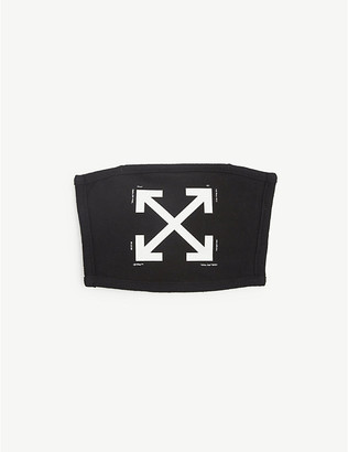 Off-White Off White Ladies Black and White Arrow-Print Cotton Face Covering Mask