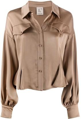 L'Autre Chose Satin Cinched-Waist Shirt
