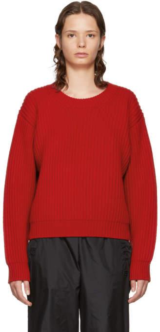 Acne Studios Red Wool Crewneck Sweater