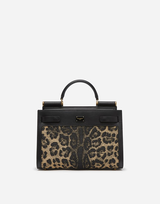 Dolce & Gabbana Medium Sicily 62 Bag In Leopard Print Raffia