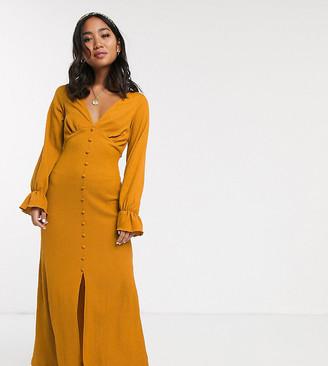 Asos DESIGN Petite long sleeve button through textured maxi dress-Yellow