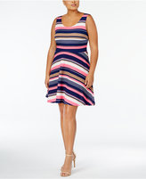 Planet Gold Trendy Plus Size Striped Fit & Flare Dress