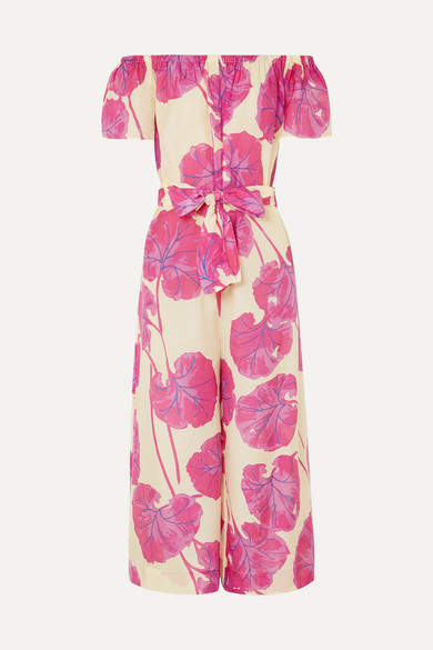 Diane von Furstenberg Helena Belted Printed Cotton And Silk-blend Jumpsuit - Pink