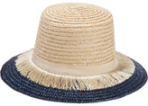 Eugenia Kim Stevie Grosgrain-trimmed Fringed Woven Straw Sunhat - Ivory