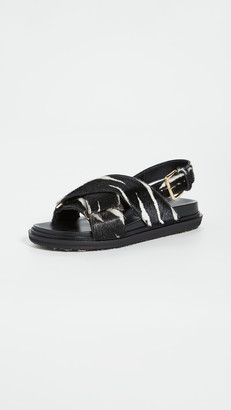 Marni Animal Print Crisscross Sandals
