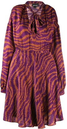 Just Cavalli animal print pussy bow dress