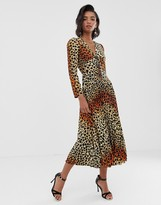 Asos Design DESIGN pleated maxi dress with coconut buttons in leopard print