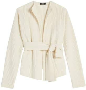 Theory Rib-Knit Belted Wool & Cashmere Cardigan