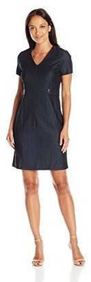 Sandra Darren Women's 1 Pc Petite Short Sleeve V-Neck Denim Sheath Dress