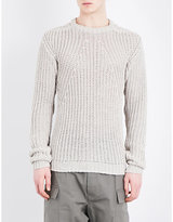 Rick Owens Crewneck Ribbed Knitted Jumper