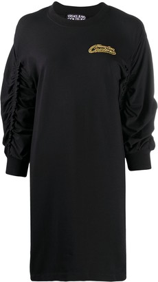 Versace Ruched Sleeve Jersey Dress
