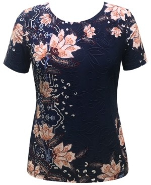 JM Collection Floral Jacquard Top, Created for Macy's