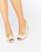 Miss KG Gazelle Nude Embellished Brooch Peep Toe Shoes