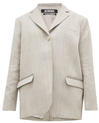 Jacquemus Moyo Single-breasted Twill Blazer - Womens - Grey