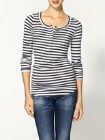 Charcoal Stripe Thermal Henley