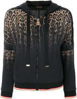 Roberto Cavalli animalier tie-dyed hooded jacket