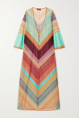 Missoni Striped Metallic Crochet-knit Kaftan - Orange