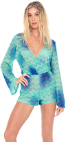 Luli Fama Siete Mares Wrap Front Long Sleeve Romper in Multicolor (L46094L)
