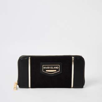River Island Black zip around purse
