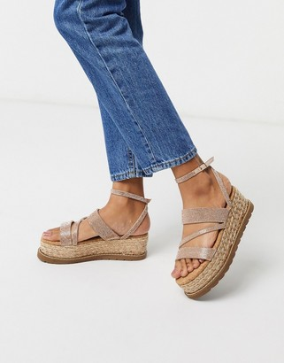 ASOS DESIGN Tamira rhinestone flatform sandals in rose gold