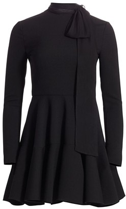 Valentino Tieneck Wool-Blend Fit-&-Flare Dress