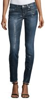 True Religion Skinny Herringbone-Print Coated Jeans