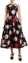Dolce & Gabbana Floral-Print Taffeta Tea-Length Dress