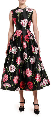 Dolce & Gabbana Floral-Print Taffeta Tea-Length Dress