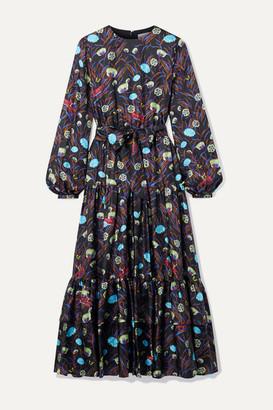 Borgo de Nor Augustina Belted Ruffled Printed Silk-twill Midi Dress - Black