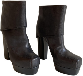 CNC Costume National Black Leather Ankle boots