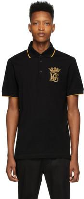 Dolce & Gabbana Black Embroidered Logo Polo