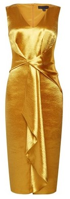 Dorothy Perkins Womens Luxe Gold Satin Waterful Pencil Dress, Gold