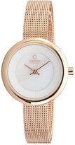 Obaku Ladies' White Dial Rose Gold Tone Mesh Bracelet Watch