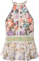 Rebecca Taylor floral print halterneck top - women - Silk/Cotton/Viscose - 0