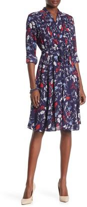 Printed Henley Shirt Dress
