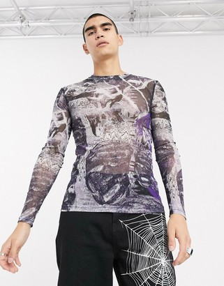 Jaded London purple psychedelic collage long sleeve mesh top