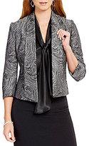 Kasper 3/4 Sleeve Swirl-Print Jacquard Jacket