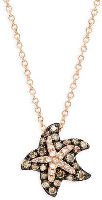 Effy 14K Rose Gold, White Brown Diamond Starfish Pendant Necklace
